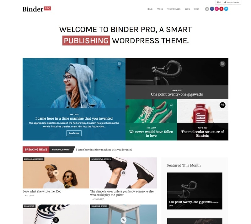 binder pro a journalist wordpress theme by artisan themes
