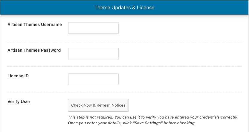 Activating your theme's license - Artisan Themes