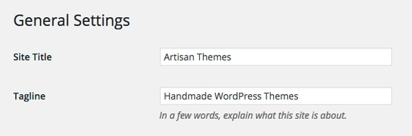 WordPress Title and Tagline