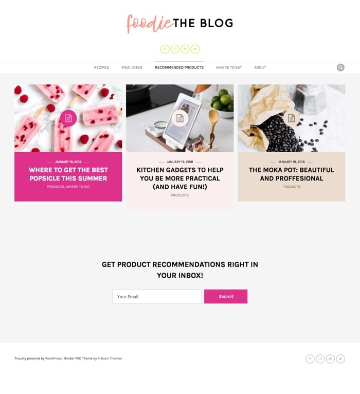 Foodie – By Binder PRO WordPress Theme