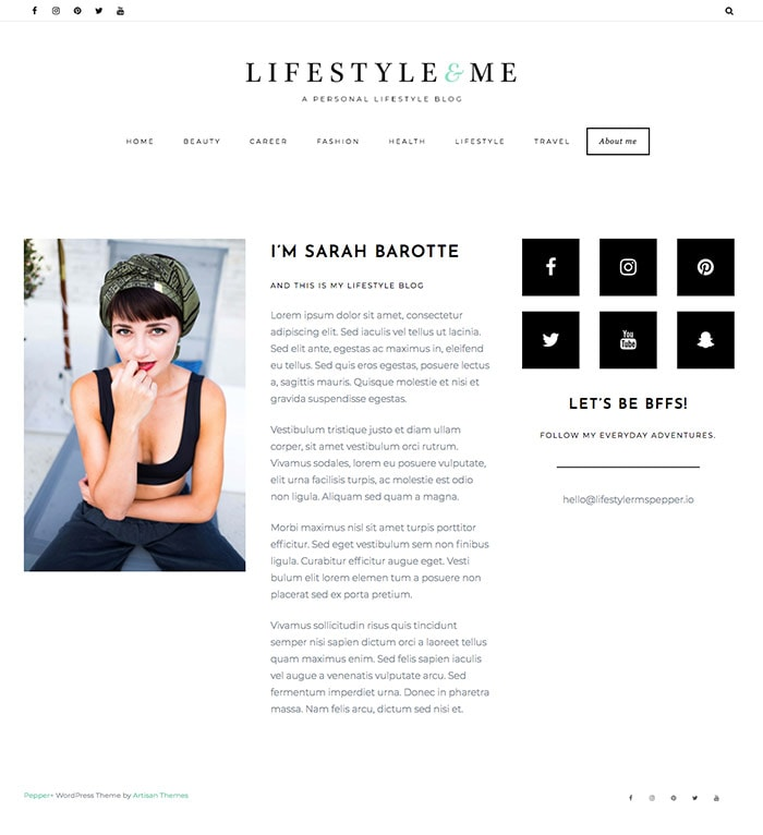 Lifestyle – By Pepper+ WordPress Theme